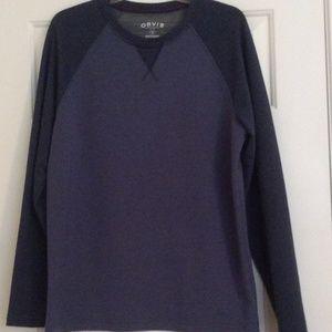Orvis Pullover Mens Sz Med 2 Tone Blue Soft Shirt